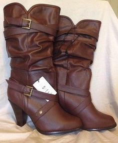73e6ab17f2a Xhilaration Brown Heel Boot Calf Length Belted Size 10 Great For Fall