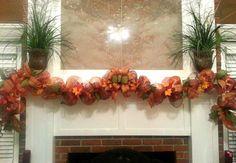 Fall garland, thanksgiving garland, deco mesh garland. Www.azeleapetals.etsy.com