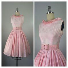 Etsy listing at https://www.etsy.com/listing/233563907/50s-pink-white-gingham-dress-1950s