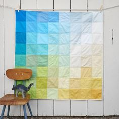 "Image of Grid Quilt: Beach. Sugg. twin dimensions would be 68"" x 89"".  5"" squares: 13 sq x 18 sq = 234 squares (final dimensions 65x90)"