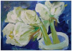 Amaryllis - bought these flowers just to pain them (gouache on cardboard, size A4, 2015).