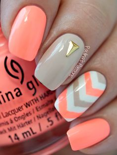 Chevron Neon Nails by Paulina's  Passions