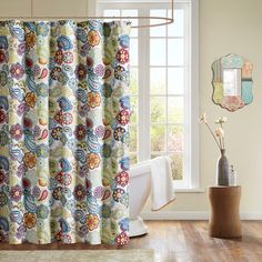 "This Asha shower curtain offers a fresh look to your bathroom with its contemporary paisley design. This 72 x 72"" shower curtain is made from a polyester microfiber fabrication for easy care."