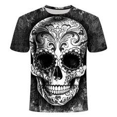 Gray Sugar Skull T-Shirt | Skullflow Skull Shirts, 3d T Shirts, Funny Tshirts, Plus Size Mens Clothing, Plus Size T Shirts, Skull Carpet, Jogger Pants Style, Black Skulls