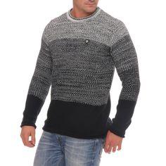 Carisma Herren Strickpullover Pulli Winterpulli Knit Jumper Black Grey CRSM  Mode