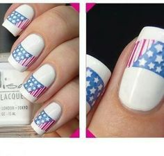 Patriotic Nails. Patriotic nails with a clean, classy french tip look! Red, white and blue with the stars  stripes glorious nails!