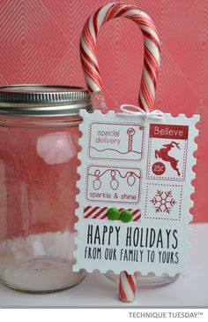 Cute idea for Christmas: Make tags and tie them onto candy canes. (If I start now, I'll get them done by Christmas!)