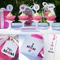 """FREE Printable Mother's Day Set includes 2"""" Party Dots, Gift Tags, Candy Bar Wrappers, Bookmark and Greeting Card. Great for the kids from Sweet Scarlet Designs. Personal use only."""