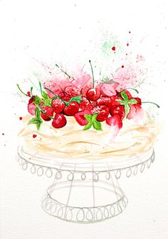 ARTFINDER: Summer Berries Treat by Enya Todd - Summer berries and meringue. what could be nicer! Happy Birthday Greetings Friends, Happy Birthday Images, Birthday Wishes, Watercolor Birthday Cards, Watercolor Food, Watercolor Paintings, Watercolors, Cake Drawing, Food Drawing