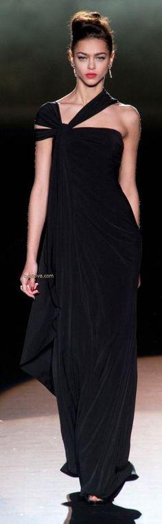 RosamariaGFrangini | Haute Couture | Badgley Mischka Fall Winter 2013 Mercedes-Benz Fashion Week | Black Dress