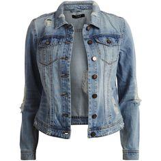Vila Vifear - Denim Jacket ($63) ❤ liked on Polyvore featuring outerwear, jackets, tops, coats, light blue denim, blue jean jacket, distressed denim jacket, light blue denim jacket, button jacket and tall jacket