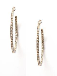 Diamond Inside Outside Hoop Earrings by Lizzie Scheck at Gilt