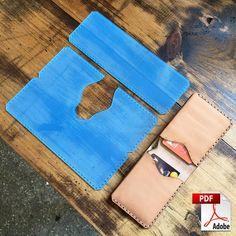 Folded Minimalist Leather Wallet Digital PDF Template - Leather Pattern x Leather Wallet Pattern, Leather Bifold Wallet, Crea Cuir, Leather Working Patterns, Minimalist Leather Wallet, Pocket Cards, Leather Projects, Leather Keychain, Leather Accessories