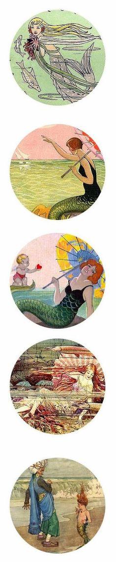 Free Bottle Cap Images: Vintage Mermaids - Digital Bottle Cap Images