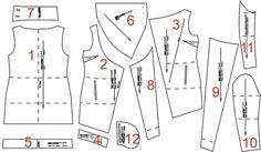 Пальто с высоким воротом - детали кроя