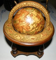 VINTAGE OLD WORLD ASTRONOMICAL ZODIAC GLOBE WOODEN WOOD BASE MADE IN ITALY