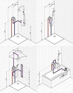 Bathroom Layout Plans, Bathroom Design Layout, Bathroom Design Luxury, Home Room Design, Modern Bathroom, Contemporary Bathrooms, Plumbing Drains, Bathroom Plumbing, Interior Design Tools
