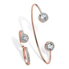 PalmBeach Jewelry 5696410 Pave Crystal Rose Gold-Plated Halo Cuff Bracelet and Double Ring Two-Piece Set, Size - 10, Women's, As Shown