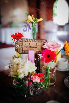 Homespun Retro Colourful Wedding Flowers Bottles Luggage Tag Names  http://www.mariannechua.com/