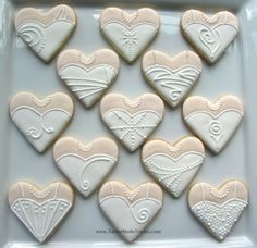 heart bridal gown cookies |