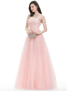 Ball-Gown Sweetheart Floor-Length Tulle Prom Dress With Beading Sequins (018105558)