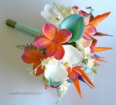 Beach Bridal Bouquet in Coral,  Aqua and Cream Made with Real Touch Callas, Orchids, Plumeria and Bird of Paradise by BlueLilyBridal on Etsy https://www.etsy.com/listing/203743743/beach-bridal-bouquet-in-coral-aqua-and