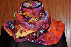 Women's Fashion Infinity  Scarf Abstract Paint Spatter Multicolor by Faylin Myhre