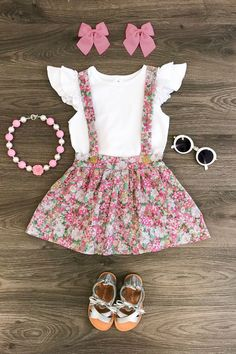 Dusty Rose Floral Suspender Skirt Set - May 25 2019 at Cute Baby Girl Outfits, Cute Outfits For Kids, Toddler Girl Outfits, Baby Girl Dresses, Baby Girl Fashion, Kids Fashion, Fashion Shoes, Kids Robes, Baby Kids Clothes