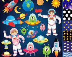 Espacio gráfico muchacho astronautas cohetes por CeliaLauDesigns