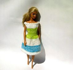 Barbie Clothes Knitted Summer Dress  Lime by KaibrecadKreations, $8.00