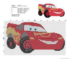 Rayo McQueen Disney Cars patrón punto de cruz