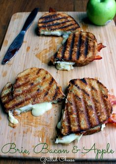 Brie, Apple, and Bacon Grilled Cheese. I added raspberry jam, and it made for a perfect little grilled cheese.