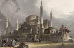 İstanbul-Hagia Sophia-Ayasofya, Gravure originale par Rouargue, 1835.