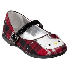 Toddler Girls' Hello Kitty Plaid Buckle Shoe - Red