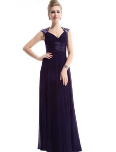 Amazon.com: Ever Pretty Chiffon Sexy V-neck Ruffles Empire Line Evening Dress 09672: Clothing