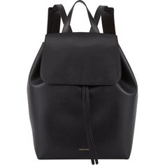Mansur Gavriel Large Backpack (€765) ❤ liked on Polyvore featuring bags, backpacks, accessories, fillers, black, leather drawstring backpack, draw string bag, leather daypack, leather knapsack and genuine leather backpack