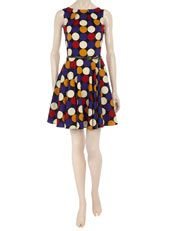 Multi - Polka Dot flared dress