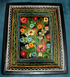 "Vintage Mexican Olinala Guerrero Lacquered Hand Painted WOOD TRAY Flowers BIRD 9 3/4"" x 8"" plus $5.00 shipping"
