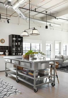 The open space of the room makes this an ideal apartment for entertaining. Even with no formal dining room, there's plenty of seating and counter space for hosting. Episode 15 – The Home Sweet Home Loft Loft Kitchen, Living Room Kitchen, New Kitchen, Kitchen Decor, Kitchen Ideas, Living Rooms, Awesome Kitchen, Kitchen Designs, Kitchen Wood