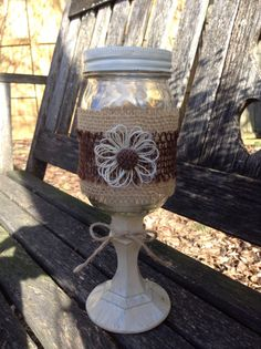 Burlap Mason Jar Centerpiece / Rustic Country Barn Outdoor Wedding / Burlap Flowers