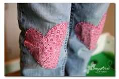 a cute idea to easily patch girl's jeans (and extra fun for Valentine's Day) - - Sugar Bee Crafts: Patched!