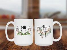 Say I do to this cute coffee mug duo! | #weddinggiftideas #mrandmrs #antler #southernlivingmag #rusticwedding #brideandgroom #coffeegifts #customgifts Cute Coffee Mugs, Coffee Mug Sets, Coffee Gifts, Mugs Set, Mr Mrs Mugs, Custom Mugs, Customized Gifts, Rustic Wedding, Wraps