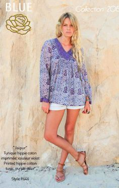 JAIPUR printed hippie cotton tunic Blue Hippy Summer 2015 Collection #boho #gypset #hippy #blue #southoffrance #handprinting #bohemian #vintage #bohochic #bohostyle #boholiving #bohemianstyle #gypsy #hippie #travel #beach #french #france #wanderlust