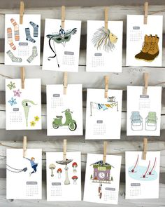 2015 illustrated wall calendar by Sloe Gin Fizz, Nicole Ray $25