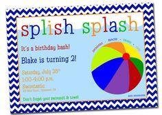 Pool Party Birthday Invitation Beach Ball- Printable, Digital File. $10.00, via Etsy.