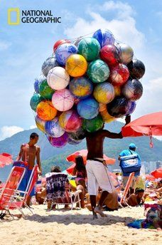 Rio de Janeiro, Brazil Beach in Rio. A place where they sell everything. Central America, South America, Big Ben, National Geographic Images, Samba, Cities, Tropical, Largest Countries, We Are The World