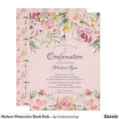 Blush Pink Floral First Holy Communion Invitation Invitation Floral, Unique Invitations, Zazzle Invitations, Party Invitations, Baptism Invitations Girl, First Communion Invitations, Première Communion, First Holy Communion, Virtual Flowers