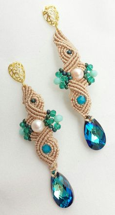 micro macramè macrame lace earrings swarovski drop earrings carribean blue