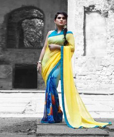 Saree in multicolor with border and aqua blouse piece in raw silk