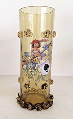 Fritz Heckert Historismus Glass Vase Enamelled emaille malerei | Pottery, Porcelain & Glass, Glass, Art Glass | eBay!